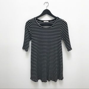 Le Lis Black & White Striped Tunic With Cut Outs